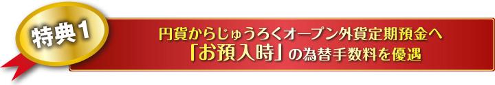 特典1 円貨からじゅうろくオープン外貨定期預金へ 「お預入時」の為替手数料を優遇