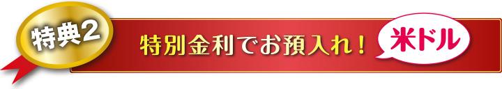 特典2 特別金利でお預入れ!