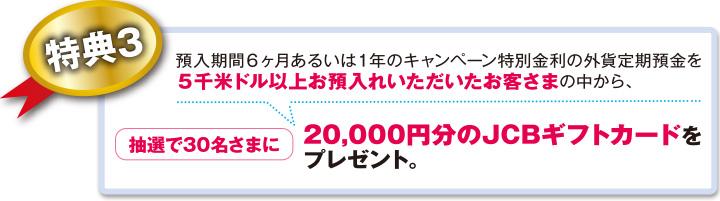 特典3 預入期間6ヶ月あるいは1年のキャンペーン特別金利の外貨定期預金を5千米ドル以上お預入れいただいたお客さまの中から、抽選で30名さまに20,000円分のJCBギフトカードをプレゼント。