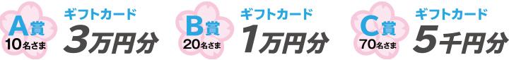 A賞10名さま:ギフトカード3万円分 B賞20名さま:ギフトカード1万円分 C賞70名さま:ギフトカード5千円分