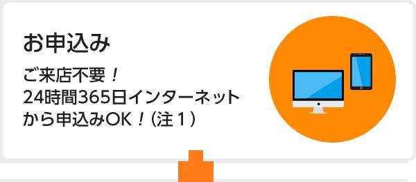 お申込み ご来店不要!24時間365日インターネットから申込みOK!(注1)
