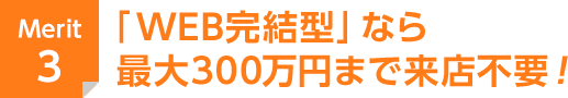 Merit 3 「フリータイプ」ならお使いみち自由!さらに「WEB完結型」なら最大300万円まで来店不要!