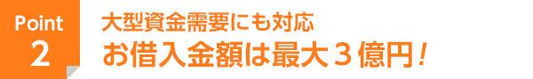 大型資金需要にも対応 お借入金額は最大3億円!