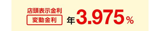 店頭表示金利 変動金利 年3.975%