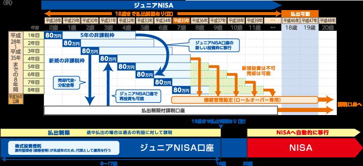 ジュニアNISA イメージ図:20歳になる前に制度が終了する場合